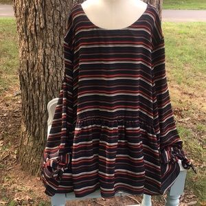 NWT Coverstitched women's sheer striped blouse XXL